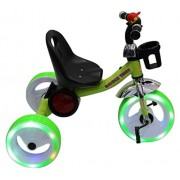 Wave Mart Tricycle with Music and Sparking LED Lights on Wheels (Green) for 1-3 yrs