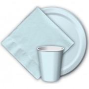 Geen 8x Lichtblauwe papieren feest bekertjes 256 ml