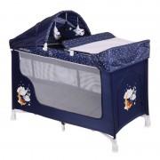 Patut pliabil San Remo Plus 2 nivele si accesorii Blue Good Night Bear Lorelli