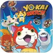 Amscan Yo-Kai WatchTM Platos Cuadrados, 22,86 cm, Recuerdo de Fiesta