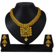 Pourni Traditional Necklace Set with Jhumka Earring for bridal jewellery Antique Finish necklace Set - BHNK09