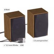 Aktive PC-Stereo-Holz-Lautsprecher mit USB-Stromversorgung, 6 Watt