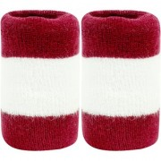 Neska Moda Unisex Pack Of 2 Maroon And White Striped Cotton Wrist Band