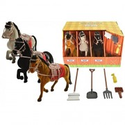 Carousel Set of 3 Flocked Horses Equestrian Horse Toy Stable Playset