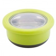 Round Stainless Steel Container Lunch/Tiffin/Snacks Box with Inner Bowls (GREEN)