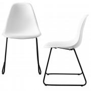 [en.casa]® Design stolica - set od 2 komada - 82 x 46,5cm - metalne nogare - bijela