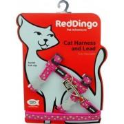 Red-dingo Postroj RD cat s vodítkem LIME - STAR HOT PINK