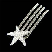 Petite Bridal Beach Wedding Swarovski Crystal Starfish Hair Comb