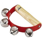 Nino Percussion NINO962 Handheld Sleigh Bells with Wooden Grip Red (VIDEO)