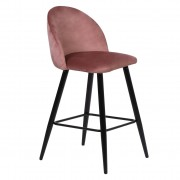 Nimara.se Alice sammet barstol i Rosa med svarta ben och sitshöjd 75 cm