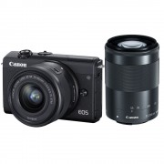 Canon EOS M200 Aparat Foto Mirrorless 24.1MP 4K Kit cu Obiectiv 55-200mm F4.5-6.3 IS + 15-45mm F3.5-6.3 Negru