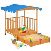vidaXL Детска къща за игра с пясъчник, чамова дървесина, синя, UV50
