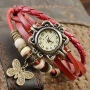 Round Analog Red Leather Women Quartz Watch