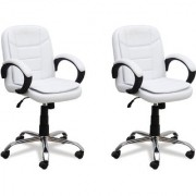 DZYN Furnitures Leatherette Office Executive Chair (White Set of 2)