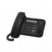 Стационарен телефон Panasonic KX-TS580FXB, LCD черно-бял дисплей, черен