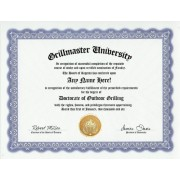 Grilling BBQ Grill Grillmaster Degree: Custom Gag Diploma Doctorate Certificate (Funny Customized Joke Gift - Novelty Item)