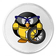 """A&T Designs Bicyclist Penguin 3"""" Sew On Patch Cyclist Bike Biking Bicycling"""