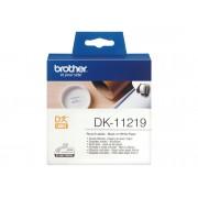 Brother Consumible Original Brother DK11219 Etiquetas precortadas circulares (papel térmico). 1.200 etiquetas blancas de 12 mmpara impresoras etiquetas QL