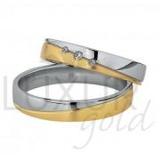 Luxusní snubní prsteny žluto bílé zlato 436-502-503.5 - kombinace zlata 1ks