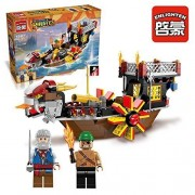 Ingenious Toys Pirates Wheel Boat with Cannon & 2 Minifigures / 345Pcs Compatible Building Blocks #1307