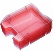 Irattálca, műanyag, törhetetlen, HELIT Nestable Green Logic, áttetsző piros (INH2363520)