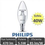 Bec LED Philips - LEDcandle 5.5W E14 230V B35 CL alb-cald