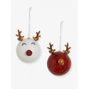 VERTBAUDET 2er-Set Weihnachtsbaumkugeln, Rentiere rot/beige