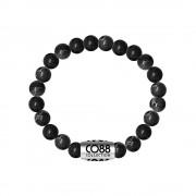 CO88 Armband met logobead staal/sedimite/zwart, rek/all-size 8CB-17031
