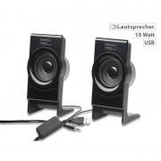 auvisio Stereo-Lautsprecher MSX-100 mit USB-Stromversorgung, 15 Watt