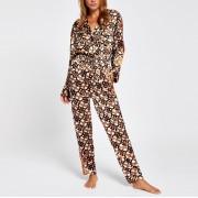 River Island Womens Brown RI print satin pyjama jumpsuit (12)