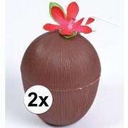 Geen 2x Hawaii thema kokosnoot drinkbekers