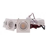 LED Set 3-Inbouwspots - 4W - Wit - Vierkant