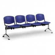 Kovo Praktik Plastové lavice ISO II, 4-sedák, chrom nohy oranžová