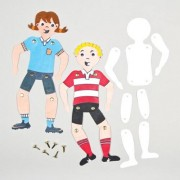 Jointed Paper Dolls - 12 Cardboard Person & Fasteners. Design A Doll. Craft Dolls. Size 25cm.