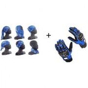 Combo Blue Pro-biker Gloves+Buff Headwear for Winter
