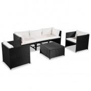 Set mobilier de grădină, 18 piese, poliratan, negru și alb crem