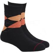 Soxytoes Sport Argyle Black Cotton Calf Length Pack of 1 Pair Argyle for Men Athletic Sports Socks (STS0038A)