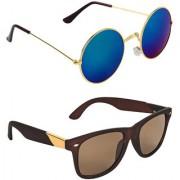 Zyaden Blue Round UV Protection Unisex Sunglasses Combo