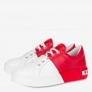 Moschino Sneakers Donna in Pelle Bicolor Bianco e Rosso