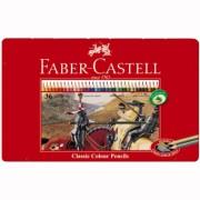 Creioane Colorate 36 culori Cutie Metal Faber-Castell