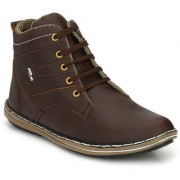 AFK Men's Brown Synthetic Leather Casual Boots