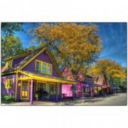 Tablou Canvas Case colorate 2 90 x 60 cm Rama lemn Multicolor