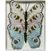 Decoris 3x Decoratie vlindertje dagpauwoog 9 x 12 cm op ijzerdraad
