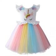 IBTOM CASTLE Disfraz de Princesa para niñas pequeñas, con Flores, Maxi, Z# Rainbow Unicorn Dress(One Pcs), 3-4 Years