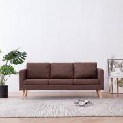 vidaXL 3-местен диван, текстил, кафяв