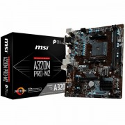 MSI Main Board Desktop A320 SAM4, 2xDDR4, PCI-Ex16, 2xPCI-Ex1, USB3.1, USB2.0, SATA III, VGA, DVI-D, GLAN mATX Retail A320M_PRO-E
