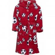 Playshoes Rode badjas/ochtendjas met voetbal print voor kinderen.