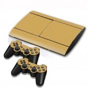 Sony Carbon Fiber structuur Stickers voor PS3 Game Console(koffie kleur)
