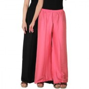Palazzo - Culture the Dignity Women's Rayon Solid Palazzo Ethnic Pants Palazzo Ethnic Trousers Combo of 2 - Black - Baby Pink - C_RPZ_BP2 - Pack of 2 - Free Size