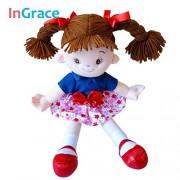Pi² Red Flower Girls Best Doll Lifelike Girls Toys Stuffed Plush Rag Doll Girl Brown Hair 35cm